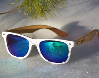 Handcrafted Wood Sunglasses. Eco-Friendly Bamboo. Wayfarer. White Frame. Blue & Green Mirror Lens. Mens Sunglasses. Womens Sunglasses