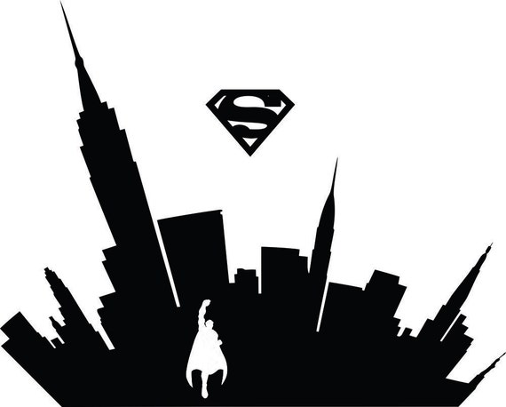 Superman Flying Cityscape Silhouette Dc Comics Home Kids