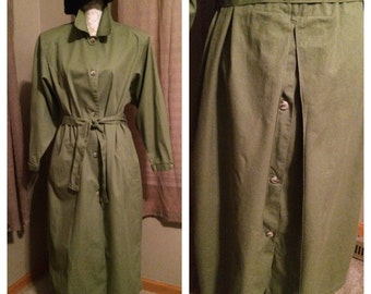 Vintage Green Khaki Trench Coat, Size M