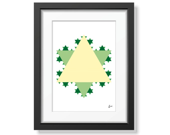 Koch star 02 [mathematical abstract art print, unframed] A4/A3 sizes