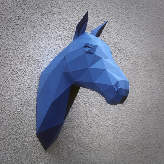 Papercraft horse head - printable DIY template (8 pages)