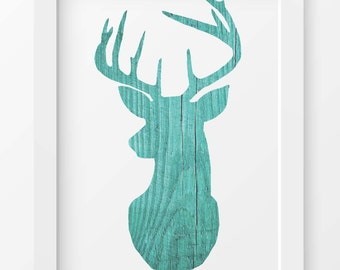 Rustic Wood, Aqua Deer Print, Deer art, Cabin decor, Printable wall art, Deer decor, Animal print, INSTANT DOWNLOAD, Digital print, Deer art