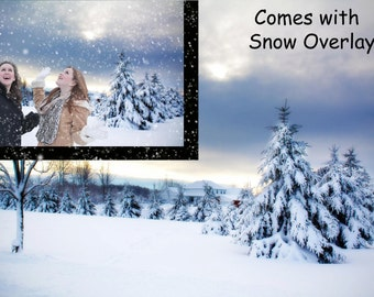 Digital snow background with snow overlay, snowy, winter, Christmas backdrop for photographers