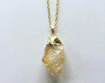 Citrine stone necklace