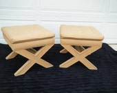 Vintage pair of pillow top X benches ottomans stools