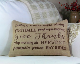 Fall Decor, Thanksgiving Pillow, Typography Pillow, Throw Pillow, Harvest Decor, Thanksgiving Decor, Pillow Cover INSERT INCLUDED