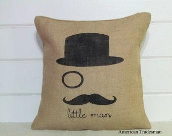 Burlap Pillow- Mustache Pillow/ Little Man Pillow/ Mustache Nursery/ Little Man Nursery/ Baby Boy Nursery Decor,