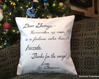 It's A Wonderful Life /  Clarence's Letter To George / Christmas Pillow / Holiday Decor / Christmas Decor / Movie Quote / Clarence's Note