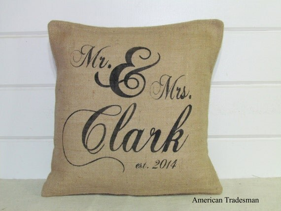 Mr And Mrs Gifts Wedding: Personalized Mr And Mrs Pillow Burlap Pillow Wedding Gift
