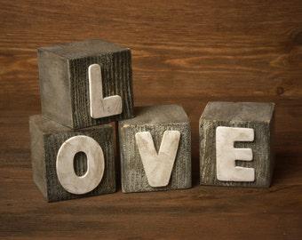Shabby Chic LOVE Letter Blocks