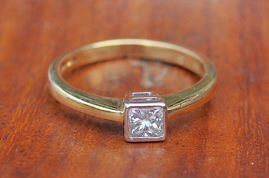 0 33ct Princess cut Diamond Bezel Engagement Ring Valuation