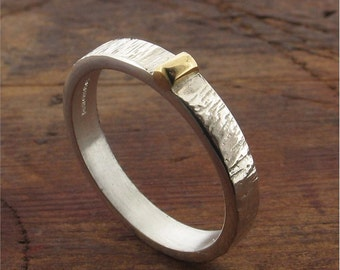 Water Drop ladies textured wedding ring 3mm wide in silver and 18k gold