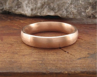 Wedding ring, 18ct rose gold brushed finish 4mm wide ETRHWR18RGCT4mm