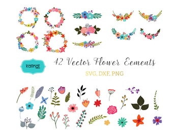 Flower svg, Flowers wreaths svg, Flower bouquet svg, Flowers vector, Flower cut file, Flower download,  svg files, clipart  ID# FLMIX1