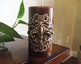 Luxury Pillar Candle , Swarovski Crystals, Home Decor, Carmel Single Wick Candle Design 3X6, Fleur De Lis Home Decor, Decorative Candles