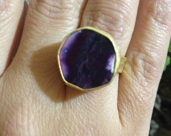 Ring, Gemstone Ring , Purple Ring, Gold Filled Ring, amethyst ring, Handmade Ring, Free Size Ring, Gold Plate Ring, Gift for  Her