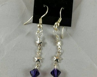 Purple Swarovski & Silver Star Link Dangle Earrings