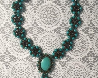 Turquoise Beaded Necklace-Adjustable