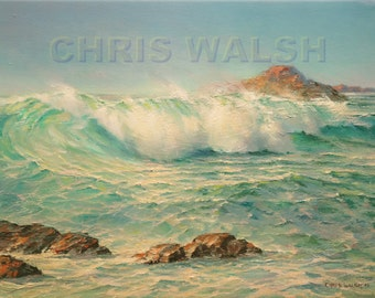 "Original oil painting by artist Chris Walsh titled ""Monterey Surf"" 12 x 16"""
