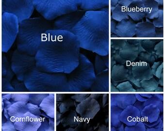 Dark Blue Silk Rose Petals, 300 petals