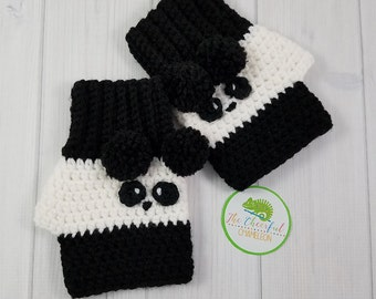 Panda Crochet Fingerless Gloves - Wrist Warmers - Fingerless Mitts - Hand Warmers - Crochet Gloves - Texting Gloves - Panda Bear