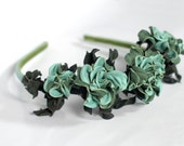 Leather mint rose headband Flower Bridal headpiece women gift under rose crown hair accessory floral headpiece girl flower crown handmade