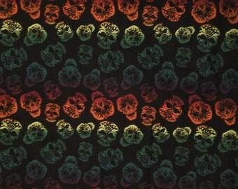 Rainbow skull fabric 1 yard cotton