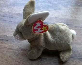 Nibbly TY Beanie Baby-Cute Tan Plush Rabbit