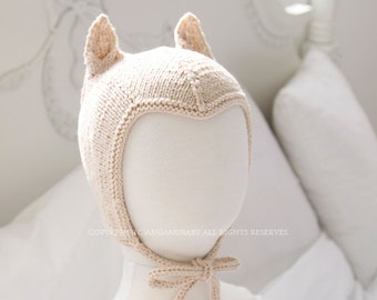 Totoro Ears kitted Hat for Baby Boy & Baby Girl / Spring winter fall / Gray Ivory / baby shower gift / unique knit hat / Newborn photo prop