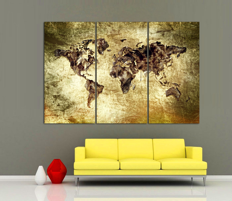 3 Panel Split Art World Map Canvas Print Triptych For: 3 Panel Split Art World Map Canvas PrintYellow Dramatic