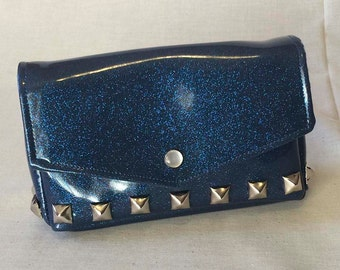 Sparkle vinyl studded clutch blue