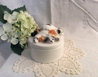 Enesco Dog Trinket Box, Enesco 1980, Jewelry Box