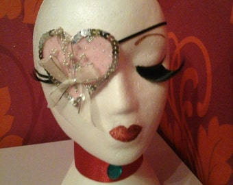 Pink Heart Shaped Sparkly Eyepatch