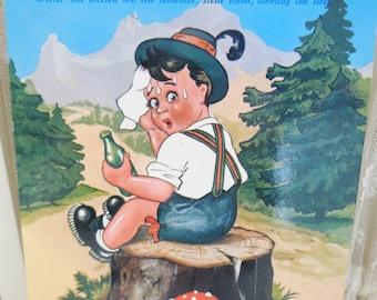 Vintage German Pull Out Postcard, Vintage German Postcard