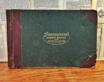 Vintage Store Ledger, Handwritten Business Ledger Book, Greenwood's Approved Business and Income Tax Record, Vintage Bookkeeping