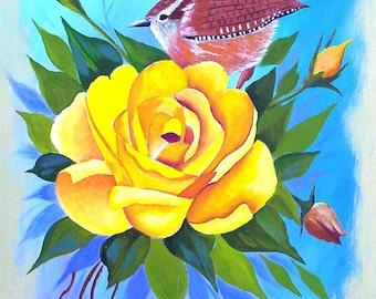 "Original Acrylic Painting ""Large Yellow Rose with a Wren Bird"" Bird art Flower art Shabby chic art Wall Decor by Michael Hutton 9 by 12"