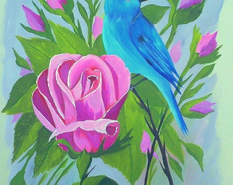 "Original Acrylic painting Bird Art ""Indigo Bunting and Pink Roses"" Bird painting Blue wall art wall decor home by Michael Hutton 9 by 12"