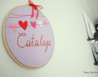 Hand embroidered baby name, nursery wall decor - Embroidery hoop art