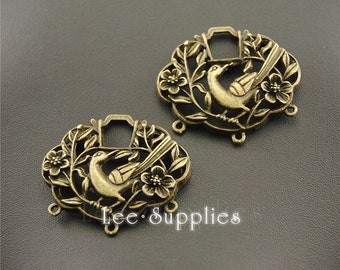 5pcs Antique Bronze Alloy Filigree Bird in Trees Charms A1297