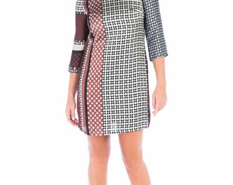 Woman dress, geometric pattern patchwork, Burgundy