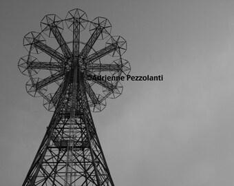 Brooklyn Parachute Jump Photography Coney Island Beach Photo Black & White Images New York NYC Photograph