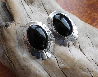 Navajo sterling and onyx earrings.  Statement earrings.  Vintage. Southwest.  Western Jewelry.  Conchos. Sale - was 55.00