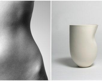 Feminine Curves Sculpted into a Tall Porcelain Vessel