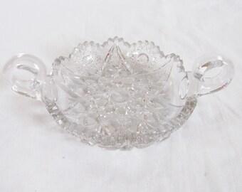 Vintage lead crystal nappy bonbon dish flat with round handles bon bon candy trinket serving bowl