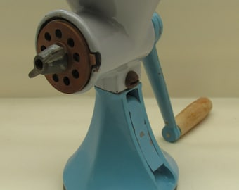 Vintage Turquoise Enamel Mincer/Grinder with Wooden Handle