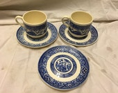 5 pieces blue transferware chinese scenes cup and saucers
