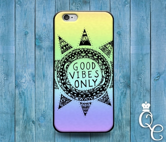 iPhone 4 4s 5 5s 5c SE 6 6s 7 plus iPod Touch 4th 5th 6th Generation Phone Case Cute Good Vibes Only Quote Ombre Colorful Fun Sun Cover