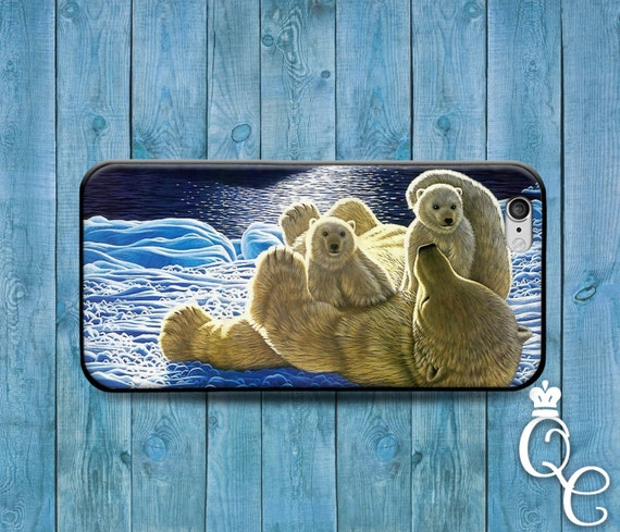 iPhone 4 4s 5 5s 5c SE 6 6s 7 plus iPod Touch 4th 5th 6th Generation Cover Cute Polar Bear Family Animal Phone Cool Winter Snow Ice Cover