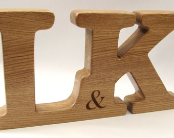 Monogram. Free standing. Large wooden letters. Personalised dates, names symbols. Perfect Wedding, Anniversary or Valentine's gift.