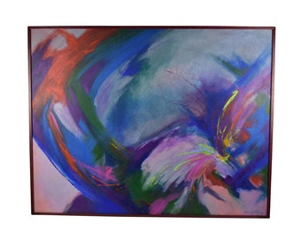 Large Vibrant 1990 Modern Abstract Oil Painting signed L. Gutierrez